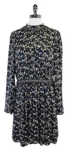 Tory Burch short dress Blue Cream Floral Print Silk on Tradesy