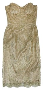MILLY short dress Gold Metallic Lace Strapless on Tradesy