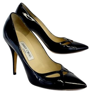Jimmy Choo Black Patent Leather Cut Out Toe Heels Pumps