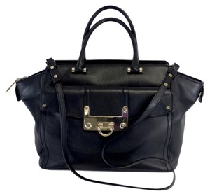 MILLY Large Black Leather Purse Shoulder Bag