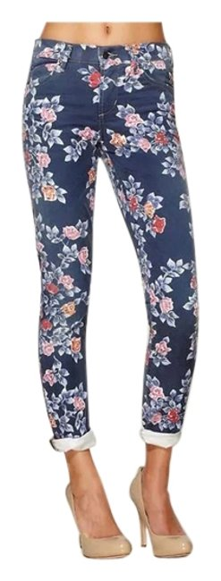 Item - Floral- Blue and Shades Orange/Pink Light Wash Thompson Skinny Jeans Size 29 (6, M)