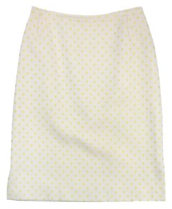 Oscar de la Renta White Yellow Polka Dot Pencil Skirt