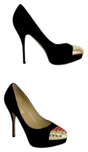 Valentino Black Suede Gold Studded Toe Pumps