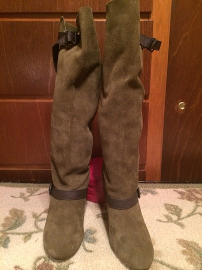 Colin Stuart ARMY GREEN W CHOCOLATE BROWN BUCKLE STRAP ACCENTS Boots Image 7