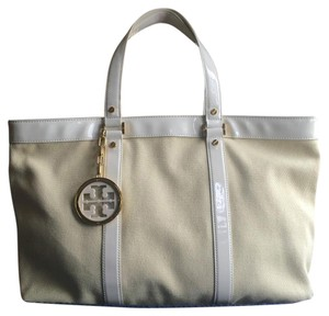 Tory Burch Canvas Tote in Beige & White