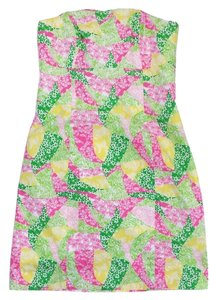 Lilly Pulitzer short dress Green Pink Yellow Strapless on Tradesy