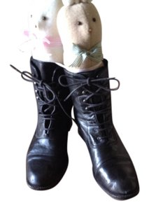 Bloomingdale's Leather Lace Ups Black Boots