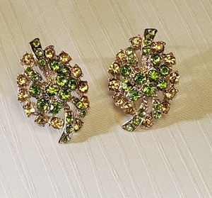 Other Classy Rhinestone Silver Plated Green & Lime Stud Earrings