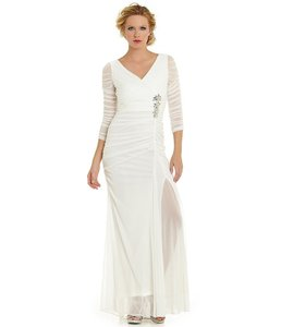 Adrianna Papell Ivory Polyester Sheer-sleeve Embellished Gown Formal Wedding Dress Size 20 (Plus 1x)