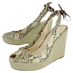 Coach Ivory & Taupe Snakeskin Espadrille Wedges
