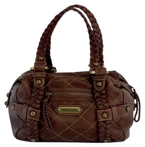 Isabella Fiore Brown Leather Quilted Stitch Hobo Bag