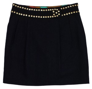 MILLY Black Stitch Pattern Gold Skirt