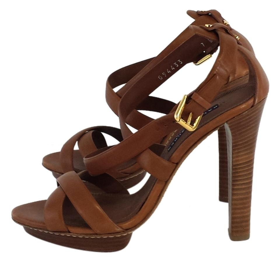 bbf2e75e88f439 Ralph Lauren Brown Leather Strappy Heels Sandals Size US 7 - Tradesy