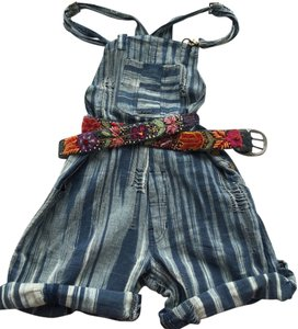 Free People Distressed Striped Unique Shortalls Shorts blue