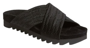 L'AGENCE Leather Woven Open Toe Slip Black Sandals
