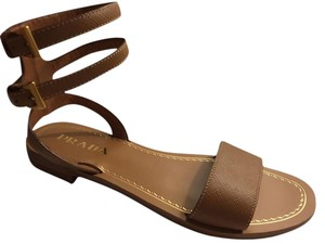 Prada Flat Ankle Strap Designer Tan Gladiator Caramello Tan Sandals