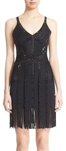 Hervé Leger Fringe Hem Beaded Dress