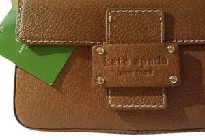 Kate Spade Pebble Town Leather Small Light Tan Brown Gold Tone Gold Hardware Dust Shoulder Bag