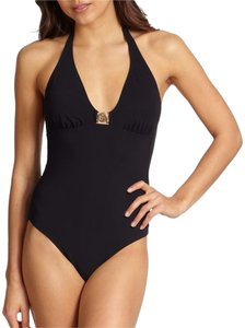 Tory Burch One-Piece Logo Halter Swimsuit black