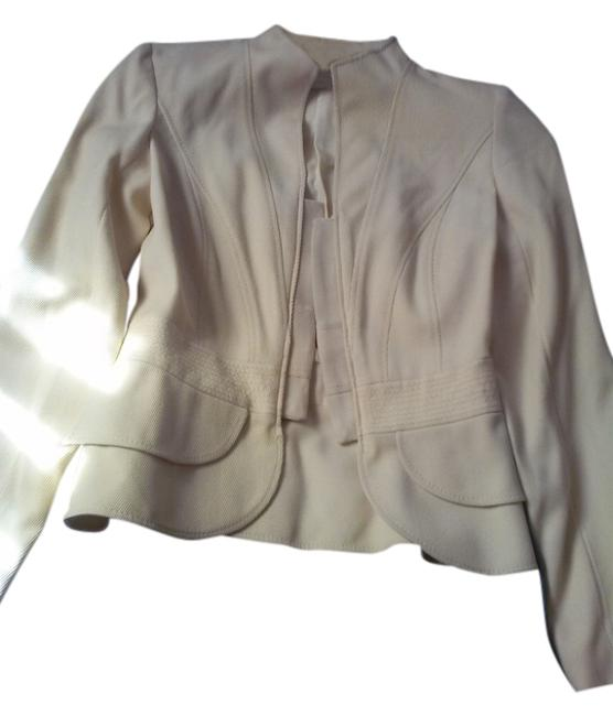 Item - Beige Made In Italy Fitted Virgin Wool Jacket Size 2 (XS)
