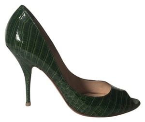 Casadei Classic Alligator Animal Print Emerald Green Pumps