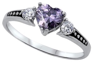 9.2.5 beautiful amethyst and white sapphire heart cocktail ring size 7
