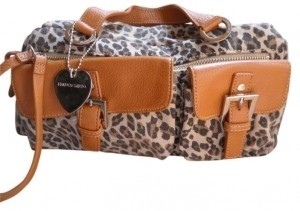 Franco Sarto Satchel in Tan and print