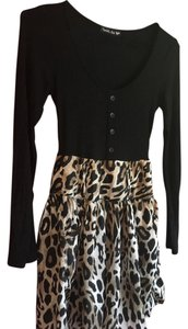 Double Zero short dress black/leopard print on Tradesy
