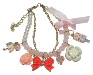 New Charm Bracelet Pink Gold Bow Ice Cream Umbrella J2474