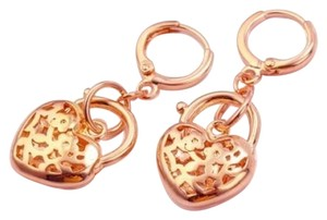 Other New 14K Rose Gold Filled Heart Dangle Earrings J2476