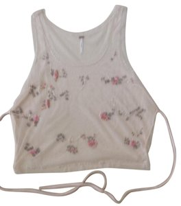 Free People Pretty Feminine Hand-beaded Vintage-look Top blush
