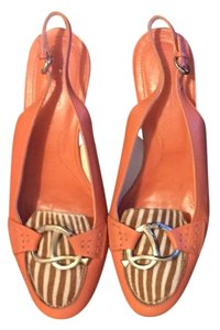 Tod's Coral with brown/white zebra Flats