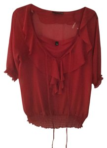 a.n.a. a new approach Chiffon Ruffle Silk Top Red