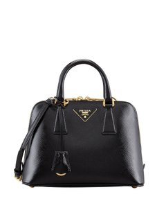 Prada Bauletto Saffiano Vernice Top Handle Bugatti Sm Famous X-body Black  Patent Leather Cross Body Bag b09de1c82382b