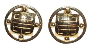 """Givenchy Givenchy Logo Gold Tone 1.25"""" Clip-on Earrings"""
