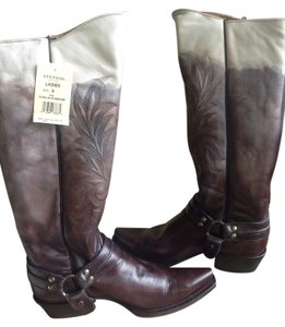 Stetson Two Tone Leather Harness Boot Brown/Cream Boots