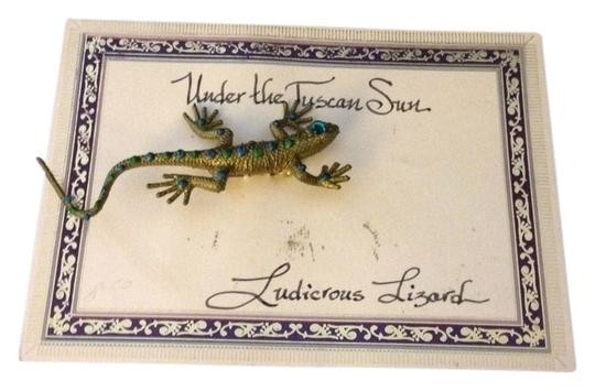 Under The Tuscan Sun Vintage 1970s Hand Crafted Under The Tuscan Sun Rubber Rhinestone Ludicrous Lizard Pin Brooch From Maria's of Winston Salem