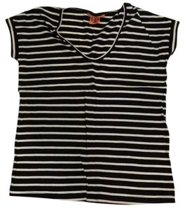 Tory Burch Striped T Shirt Blue and Cream