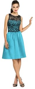 After Six Sleeveless Satin Lace Blue Dress