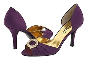 RSVP Satin Open Toe Sparkling Broach Brand New Purple Pumps