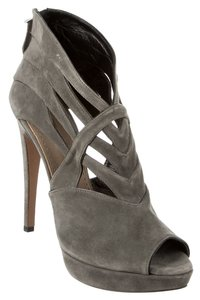 ALAA Suede Peep Toe Cutouts Luxury Grey Platforms