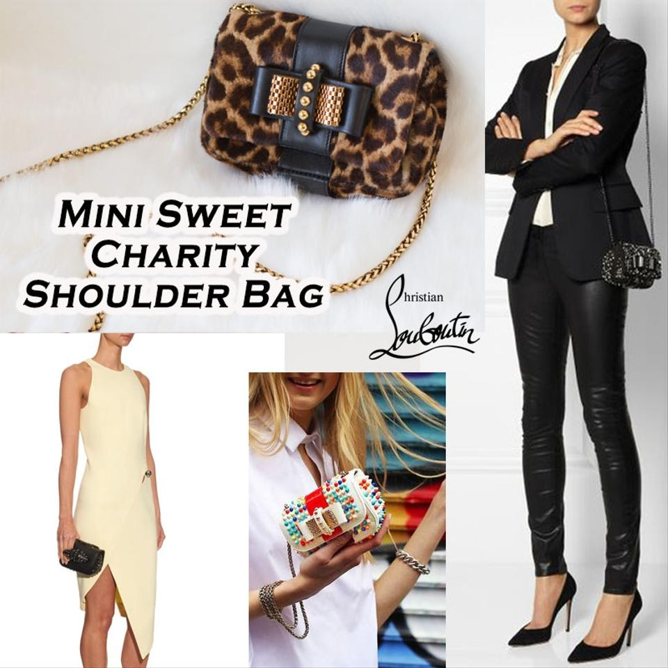 d0c9cedc45bd Christian Louboutin brown and multicolor leopard print pony hair Christian  Louboutin mini sweet charity bag with gold tone hardware, single chain link  ...