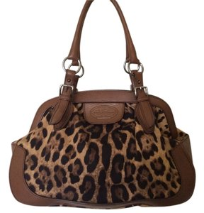 Dolce&Gabbana Leopard Canvas Leather Satchel Silver Hardware Shoulder Bag