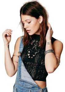 Free People Crop Festival Coachella Boho Black Halter Top