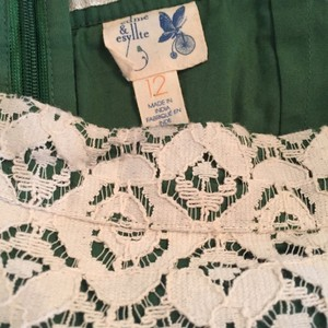 Anthropologie Skirt Cream with green lining
