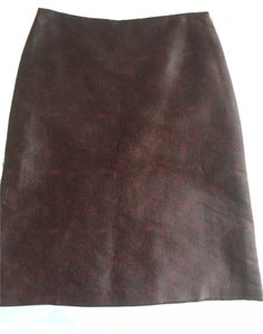 Vivienne Tam A-line Brocade Vintage Skirt Burgundy and black