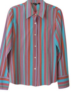 INC International Concepts Vibrant Stripes Button Down Shirt Multi