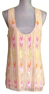 Trina Turk Silk Sequin Large Top Cream and Pink