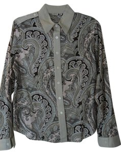 Michael Kors Print Button Down Shirt Pink, Tan and Black Paisley