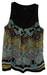 Nicole Miller Top Black, white, yellow, blue, green